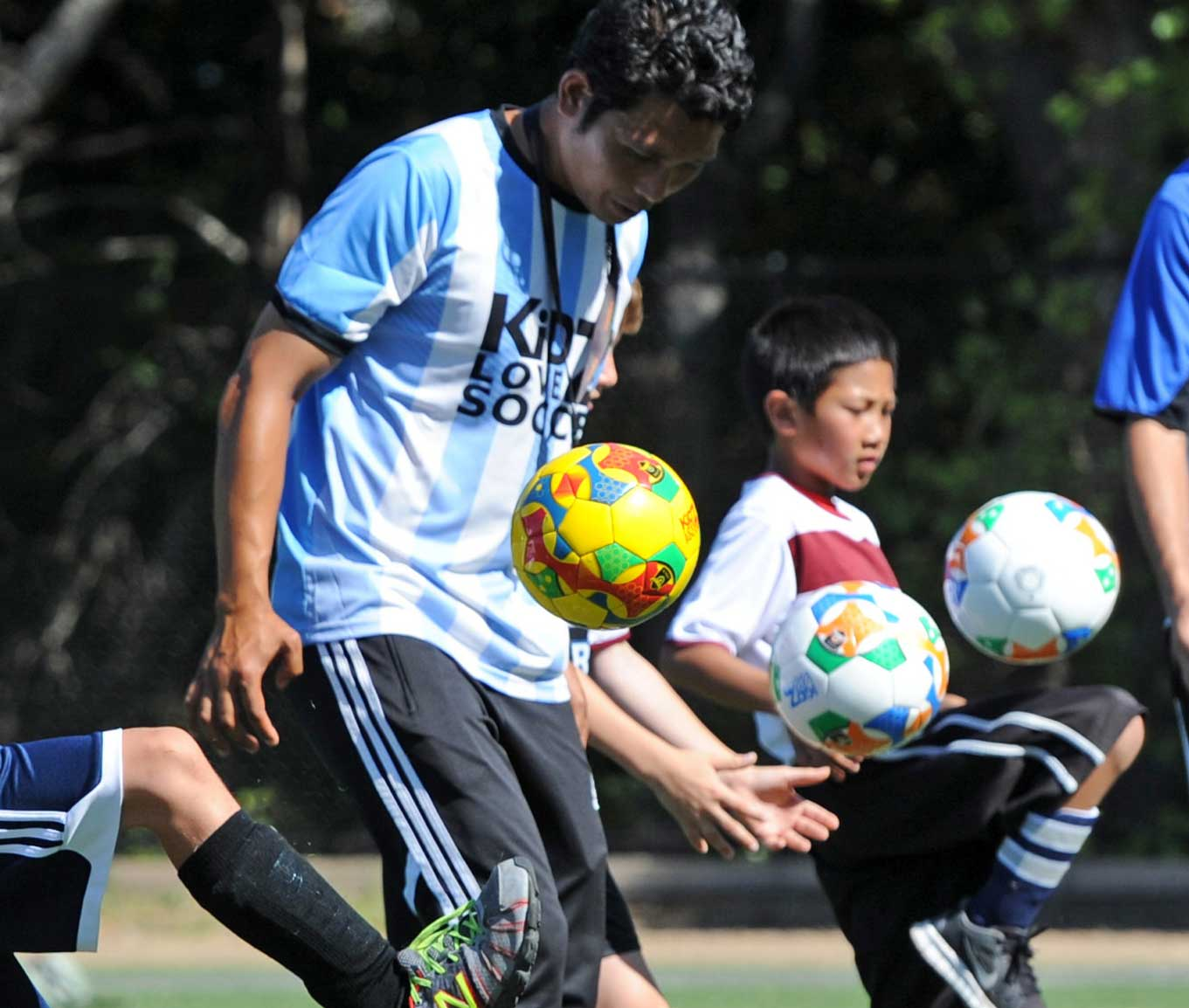 playing soccer image
